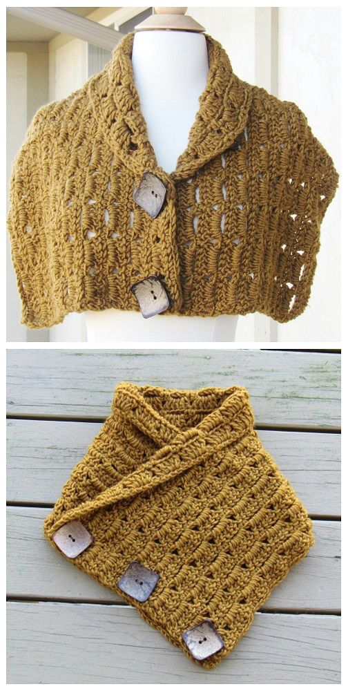 [Free Crochet Pattern] Endlessly Pretty Crochet Button Cowl