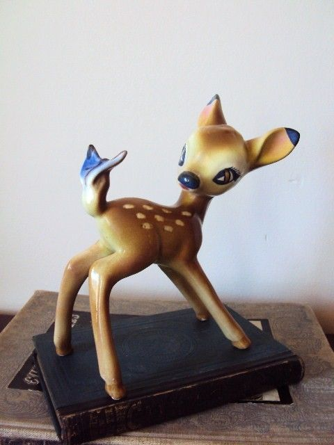 Vintage Bambie Deer Figurine with Butterfly by primitivepincushion