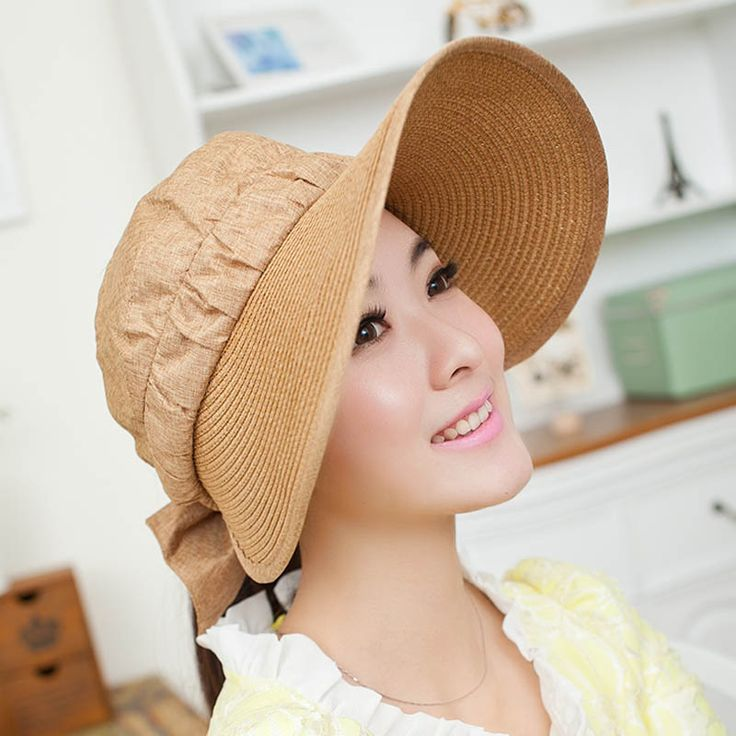 Straw visor hat wide brim sun protection hats for women