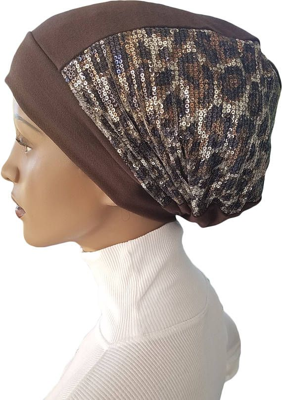 Animal Print Dreadlocks Beanie Hat Sequin Embellished Huggee
