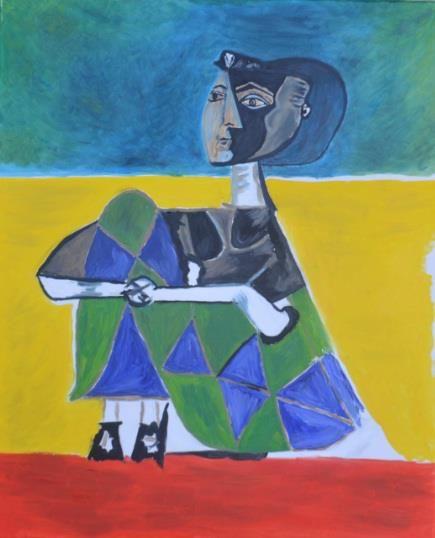 Jacqueline Sentada (Picasso), oil on canvas by justyna Molendowska-Ruiz