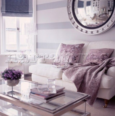 The striped wall with the oversized mirror rocks!