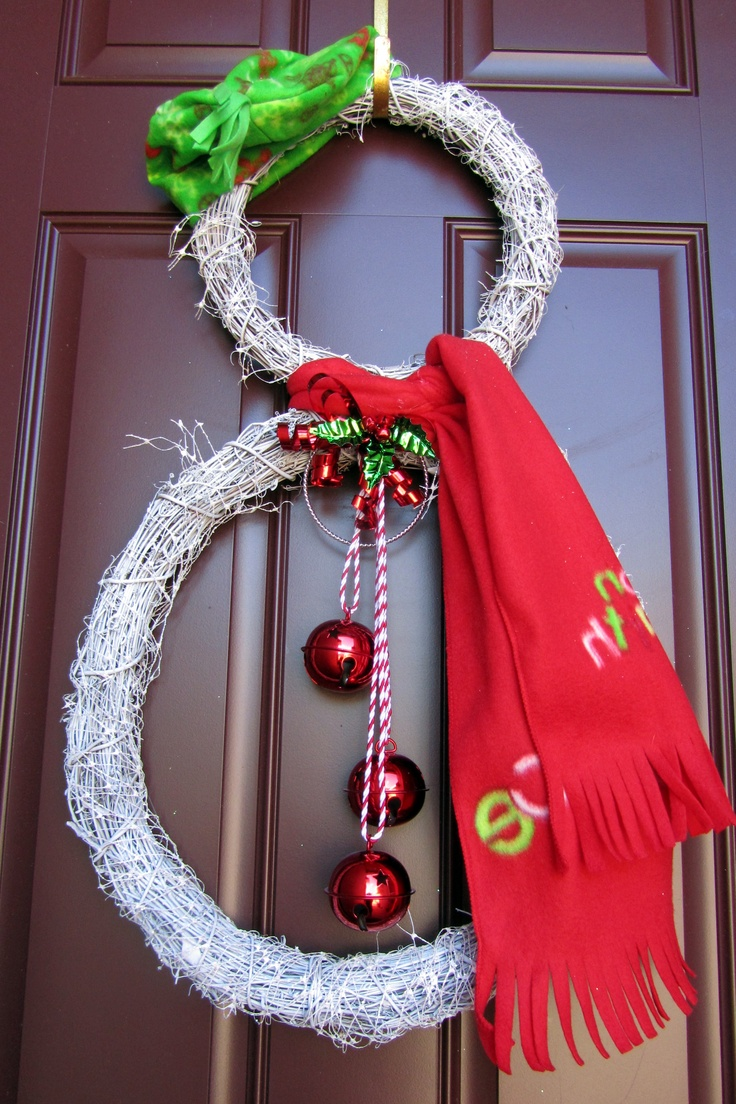 Fiber optic christmas snowman wreath decoration -  Nancy Landers Snowman Wreath Re Done With Just Two Parts On Double Doors