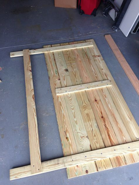 DIY king size headboard, have Dad help me build and then paint it to match full length mirror.