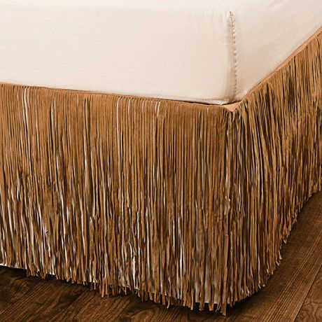 Pendleton Fringed Suede Bed Skirt - Queen