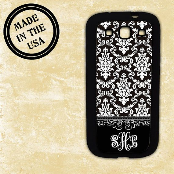 Samsung Galaxy Note 1 case - Black damask monogrammed cover - floral Samsung Galaxy S3, S4, Note 2, HTC One X, Blackberry 9900 case (9762)