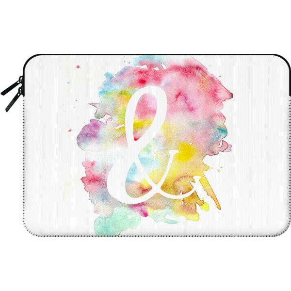 Macbook Sleeve - Modern bright watercolor white ampersand symbol ($60) ❤ liked on Polyvore featuring accessories, tech accessories and macbook sleeve