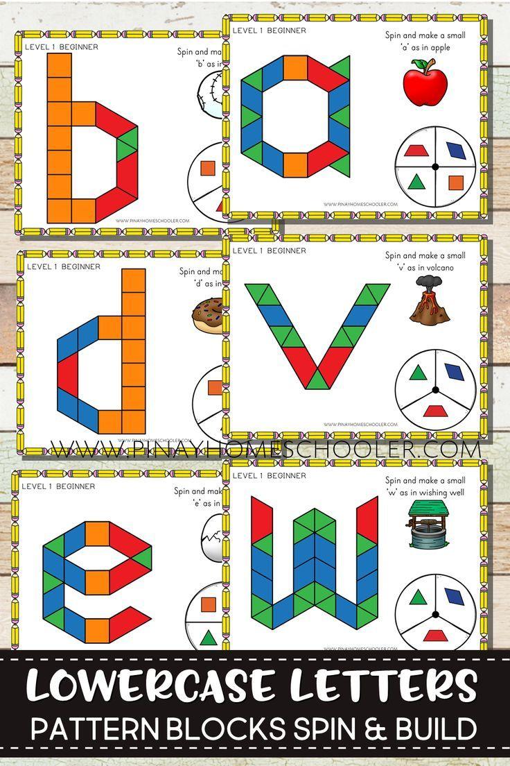 Lowercase Pattern Blocks Spin And Build Alphabet Activities Preschool Kindergarten Activities Kids Math Activities [ 1104 x 736 Pixel ]
