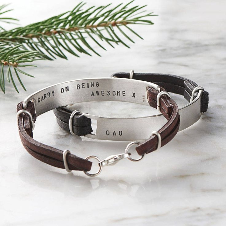 Men's Personalised Silver Hidden Message Bracelet. A modern men's bracelet that is personalised with initials on the front and a hidden message on the back. Made from eco-friendly recycled silver!