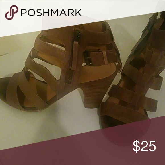 Nine West strappy heel/booties Barely worn, mint condition brown strappy heels. Hot with jeans and dresses alike. Nine West Shoes Heels