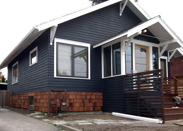 Dark Blue House With Cedar Shingles Exterior Ideas