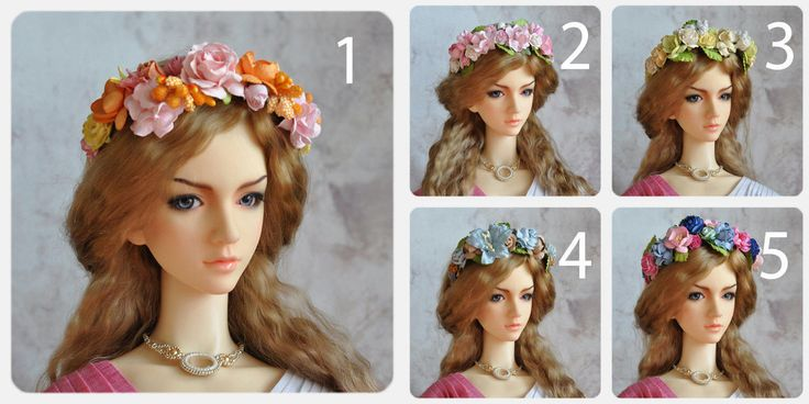 Flower headband bjd - Free size MSD - SD - 70+ by BlueberryStyle on Etsy