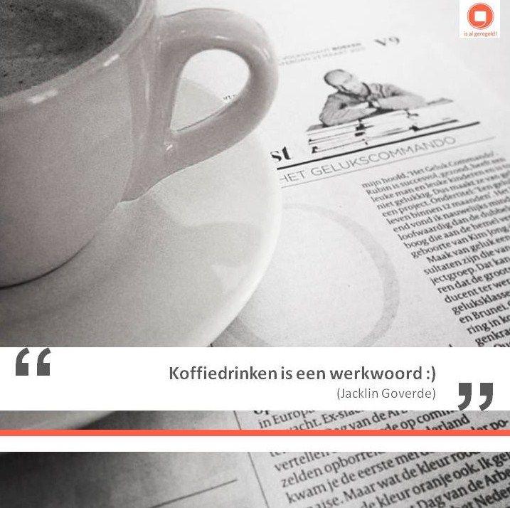 """Koffie drinken vind ik daarom altijd een goed idee! Voor mijzelf, daarmee voor """"is al geregeld!"""" en daardoor eigenlijk voor iedereen. Heb of ken jij een plek die ik om welke reden dan ook niet mag missen? Laat het me weten, dan schrijf ik die binnenkort misschien wel op een datum in mijn agenda, als werkplek voor die dag. #koffie #storytelling"""
