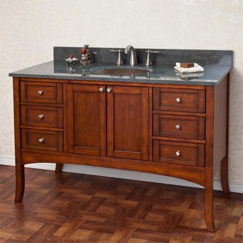 """Copper Bathroom Vanity: 48"""" Cadmon Vanity Cabinet With Hammered Copper Sink"""