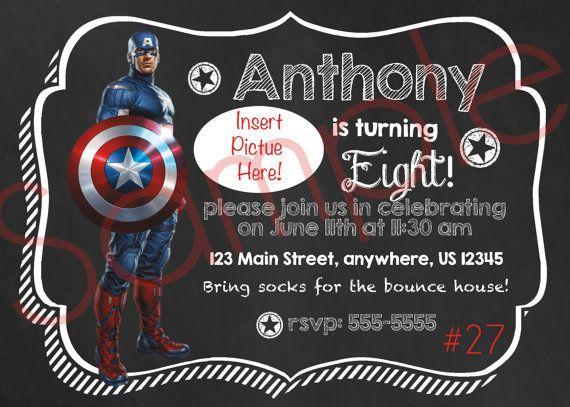Chalkboard Captain America 27 Personalized / by InvitesByMila