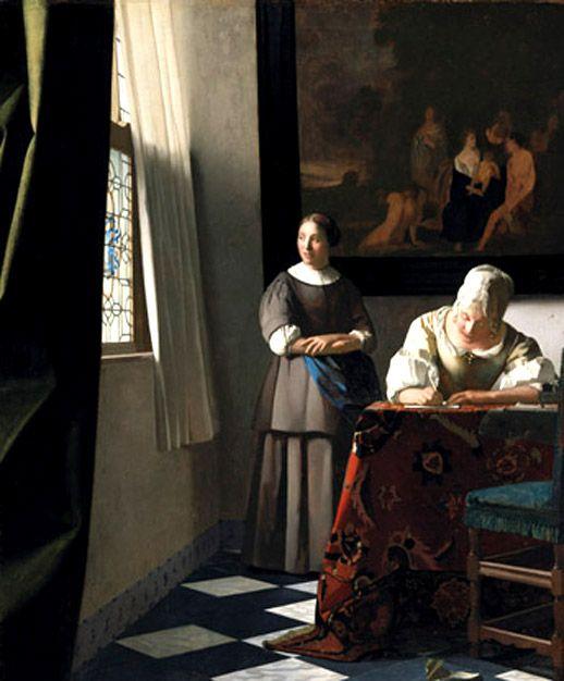 """Johannes Vermeer """"Mujer escribiendo una carta con su criada"""" - Woman Writing a Letter with her Maid"""