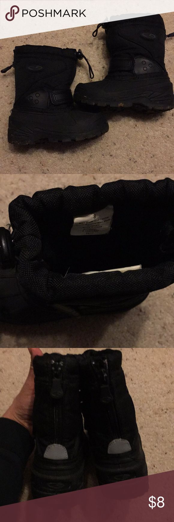 Black snow boots size 8 Champion brand black snow boots size 8. Good condition. Zipper on the back. Very warm. Unisex Shoes Rain & Snow Boots