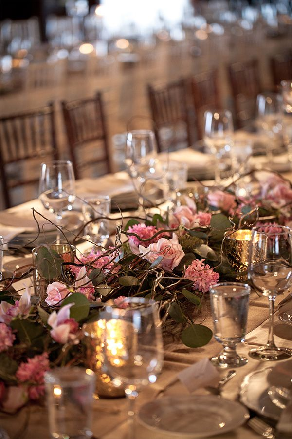 Romantic rustic wedding designed by Jenelle Jamani of Special Event Rentals at the Old timers' Cabin. Stunning floral tablerunner by FaBLOOMosity & photography by KZphotography. #yegWedding #RusticWedding