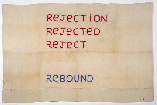 Louise Bourgeois   Rejection, Rejected, Reject, Rebound, 2005  Thread and pencil on cloth   76.8 x 117.8 cm / 30 1/4 x 46 3/8 in
