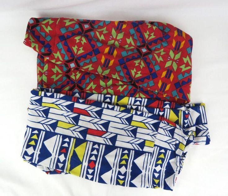 Women's 2 LulaRoe Pants Leggings ONE SIZE Stretchy Polyester Spandex Geometric #LuLaRoe #CasualPants #DAILYWEAR