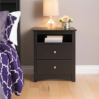 Broadway Black 2-drawer & Open Cubbie Nightstand | Overstock.com Shopping - Great Deals on Prepac Nightstands