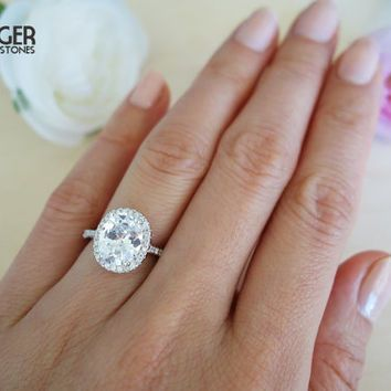 3 25 Carat Oval Halo Engagement Ring Vintage Inspired D Color Man Made Diamonds Art Deco Wedding Bridal Promise Sterling Silver