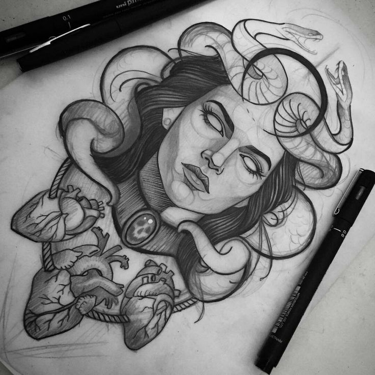 + 100 Best Easy Pencil Drawings Images : Dessin au Crayon – Art & Drawing Community : Explore & Discover the best and the most inspiring Art & Drawings ideas & trends from all around the world Tattoo Sketches, Tattoo Drawings, Body Art Tattoos, Sleeve Tattoos, Cool Tattoos, Tatoos, Medusa Drawing, Medusa Art, Pencil Drawing Images