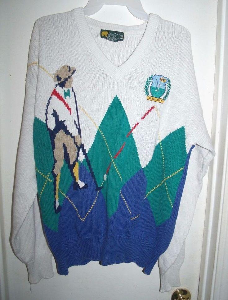 Golden Bear Jack Nicklaus White Green Golf Player Argyle Sweater Size M Mens #GoldenBear #VNeck