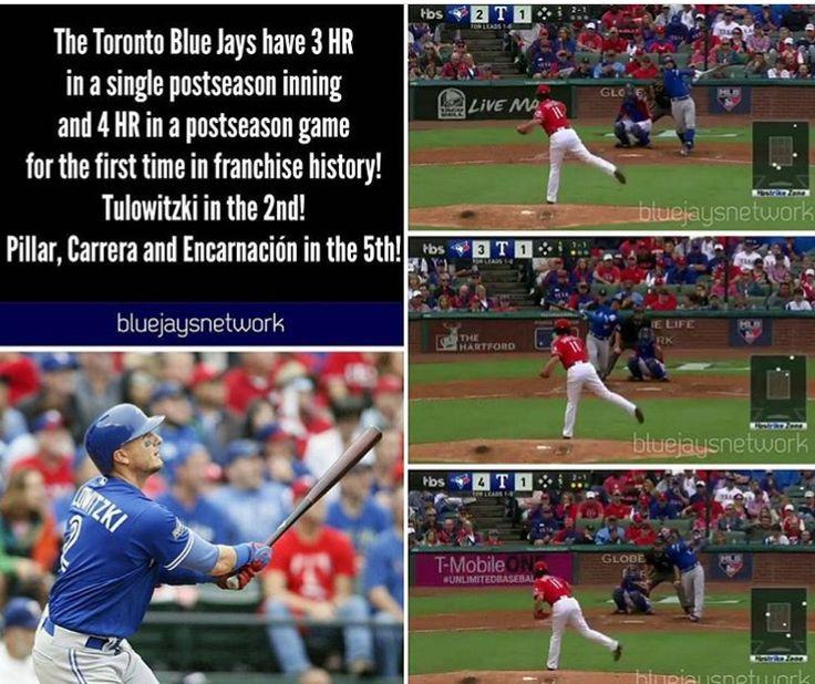 Troy Tulowitzki, Kevin Pillar, Ezequiel Carrera, and Edwin Encarnacion setting Toronto Blue Jays records!  2016 ALCS.  Texas Rangers. MLB. Baseball. Tulo. Canada's Team. #OurMoment