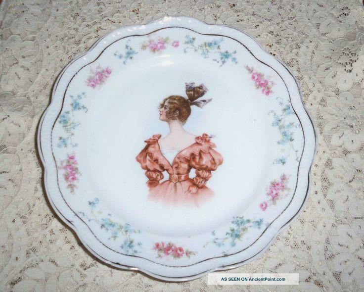 Unusual Antique Limoges Porcelain Portrait Plate W French Fashion Lady Plates & Chargers photo