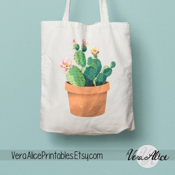 Artículos similares a Watercolor Cactus Natural Canvas Tote, Cactus Tote, Paint…