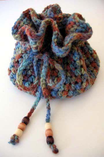 Drawstring Crochet Bag: free pattern