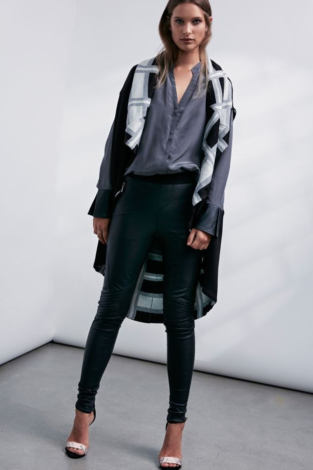OnceWas: Koshi double layer check knit, Kasumi leather cuff silk shirt and Fortune quilted stretch leather pant.