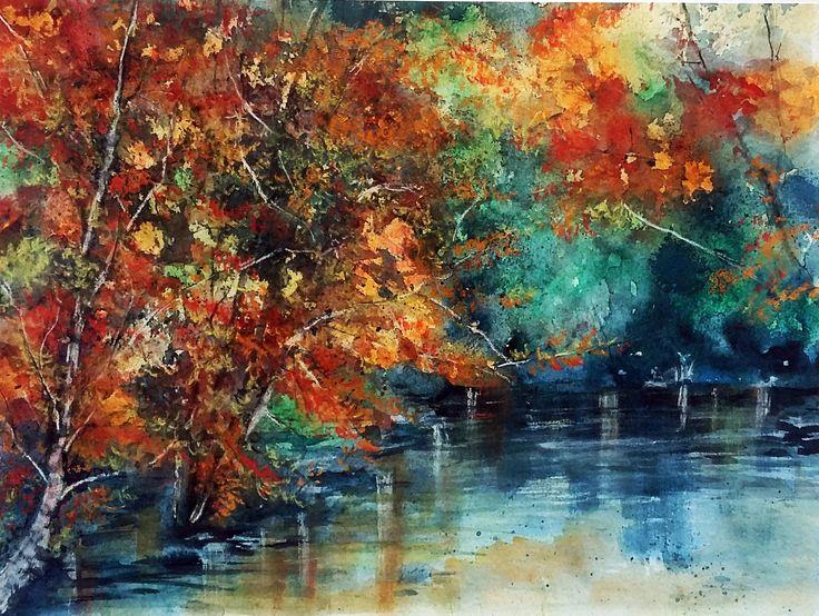 Colori d'autunno   -   acquerello e gessetti
