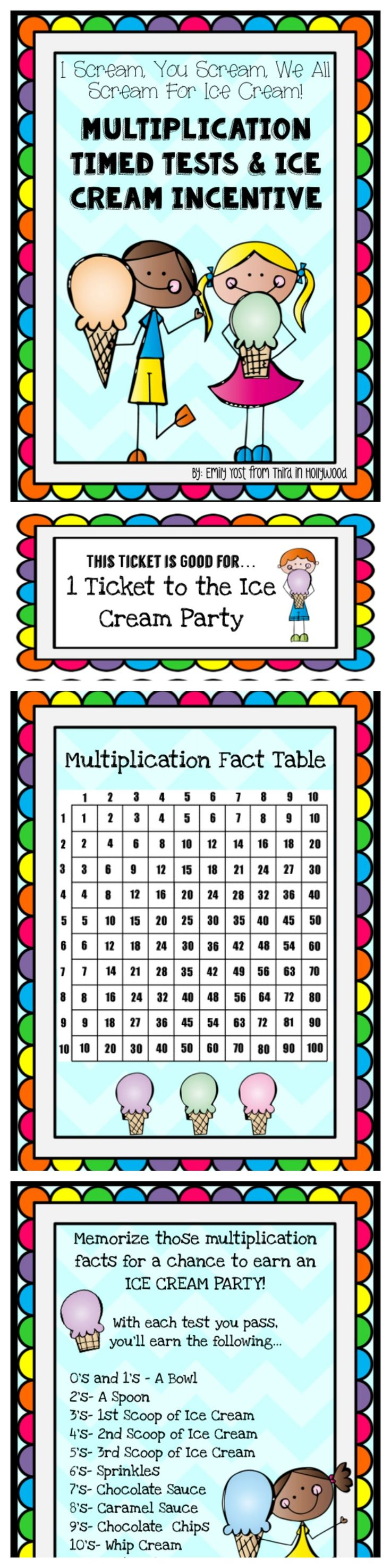 Multiplication tests ice cream incentive