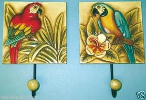 2 Assorted Caved Wood Parrot Tropical Wall Hooks Plaques Signs New Item | eBay