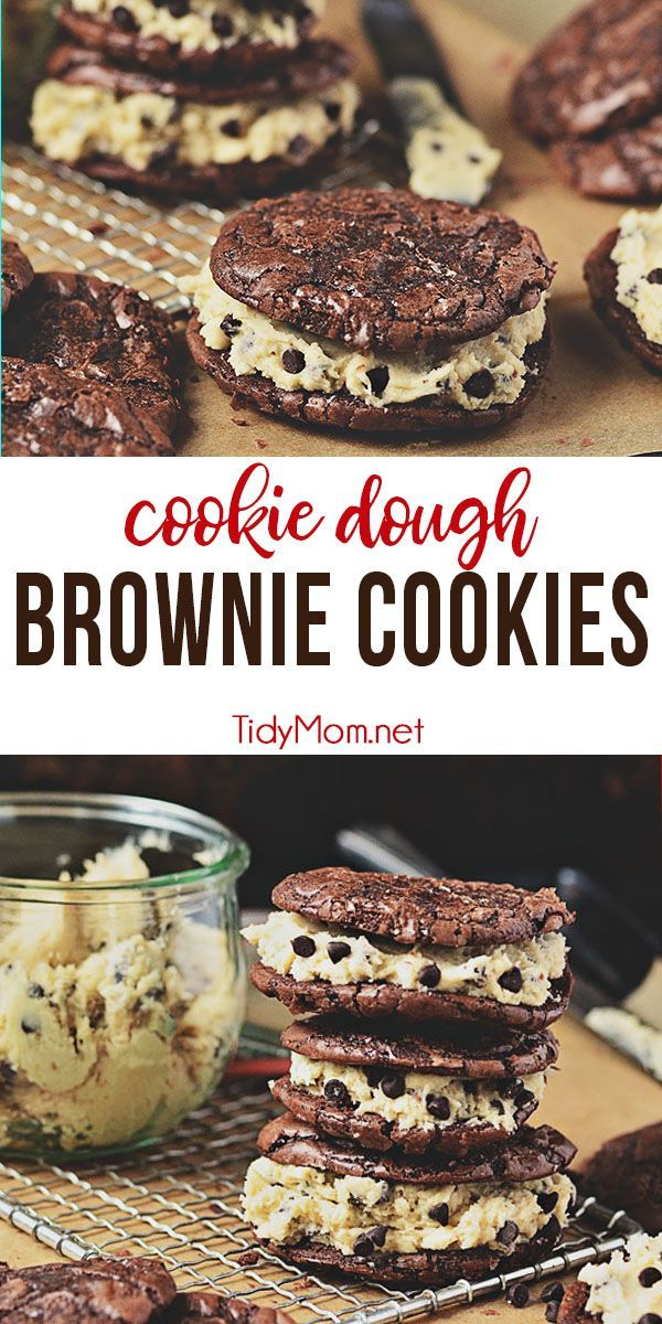Chocolate Chip Cookie Dough Brownie Cookies are a chewy decadent brownie sandwich cookie filled with chocolate chip cookie dough frosting that gives the whole ensemble a four-star rating from any brownie lover. Print full recipe at TidyMom.net #brownies #cookiedough #chocolatechipcookie