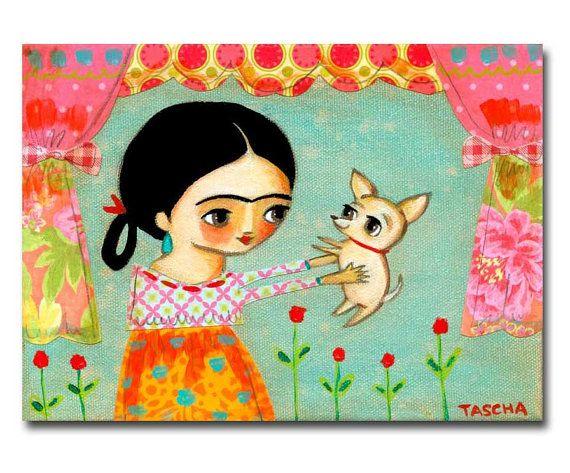 ORIGINAL painting FRIDA Kahlo and CHIHUAHUA dog mixed by tascha, $100.00