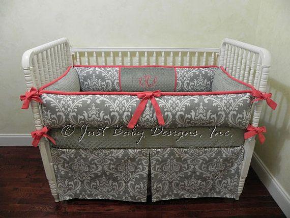 Custom Crib Bedding Set Kaleena - Gray Damask and Coral Baby Bedding on Etsy, $140.00