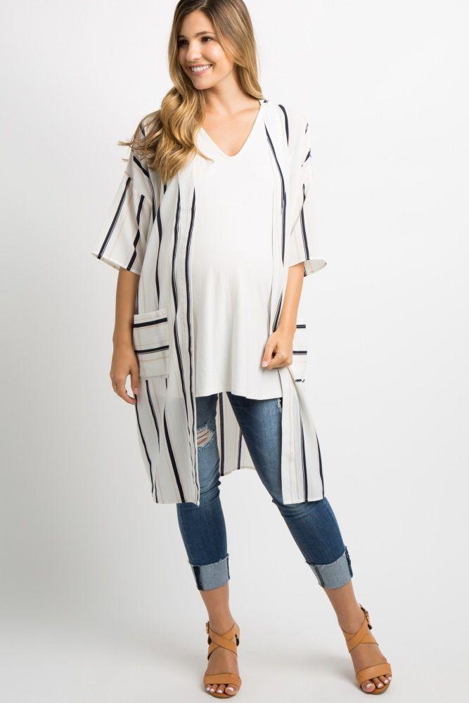 e7f52de9221d White Striped Maternity Kimono | Pregos/Nursing-breastfeeding/Mommy ...