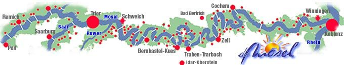 Mosel River Valley Map with City info