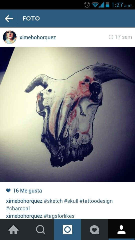 #draw #skull #goat #tattoodesign #charcoal #ximenabohorquez #art