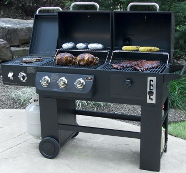 New big hybrid barbecue grill system propane gas charcoal for Coyote hybrid grill