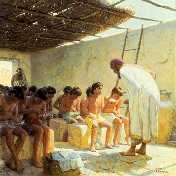 In An Ancient Mesopotamian School Boys Write On Clay Tablets- Tom Lovell (1909 – 1997)