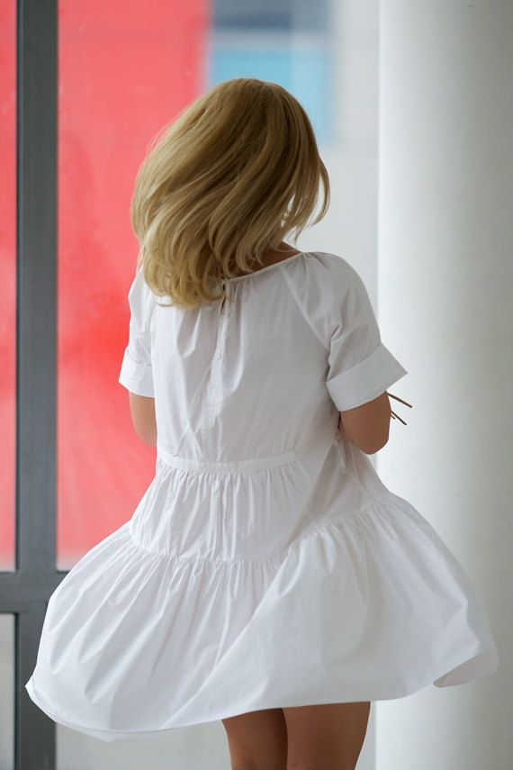 Robe tunique blanche robe chemise blanche Flare robe par VisibleArt