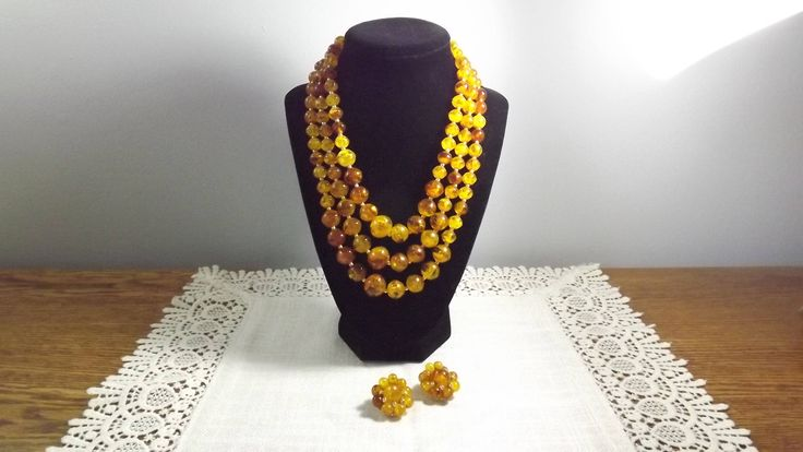Vintage Amber Tone Thermoplastic Beaded Demi-Parure Necklace and Clip On Earrings Set Marked Hong Kong by OutrageousVintagious on Etsy