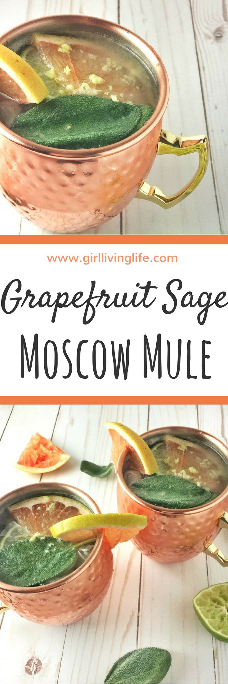 This Grapefruit Sage Moscow Mule is the perfect refreshing drink! Great for a hot summer day at the cottage, while the ginger adds a great spice that makes it suitable for a winter day cozied up by the fire! #moscowmule #cocktail #cocktailrecipe #grapefruit