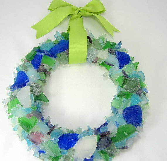 Beach Decor Sea Glass Wreath  Beach Glass by beachgrasscottage, $125.00