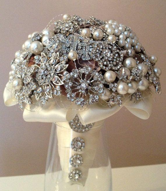 Pearl & Diamante Brooch Bouquet.: Brooch Bouquets, Pearl, Wedding Bouquets, Wedding Ideas, Bling Ideas