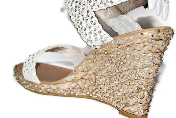 White Wedding Shoes White Wedge Bling by AVCustomdesignsandmo, $55.00